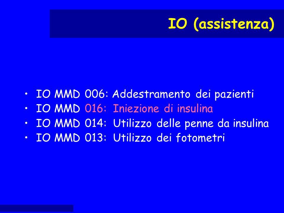IO MMD 006: Addestramento dei pazienti IO MMD 016: Iniezione di insulina IO MMD 014: Utilizzo delle penne da insulina IO MMD 013: Utilizzo dei fotomet