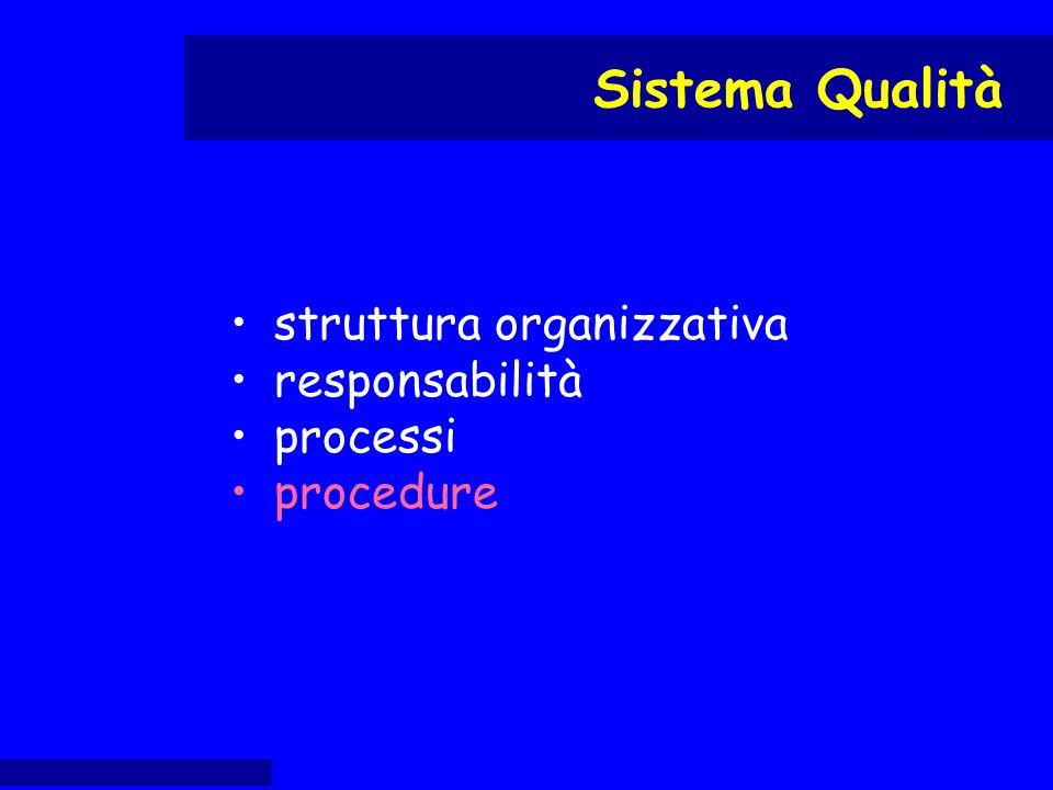 struttura organizzativa responsabilità processi procedure Sistema Qualità