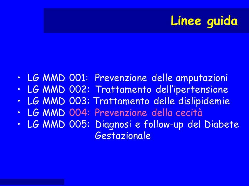 LG MMD 001:Prevenzione delle amputazioni LG MMD 002:Trattamento dell'ipertensione LG MMD 003: Trattamento delle dislipidemie LG MMD 004:Prevenzione de