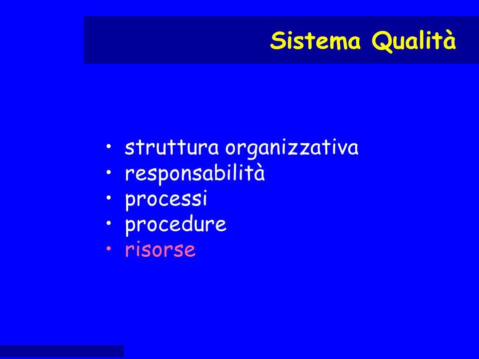 struttura organizzativa responsabilità processi procedure risorse Sistema Qualità