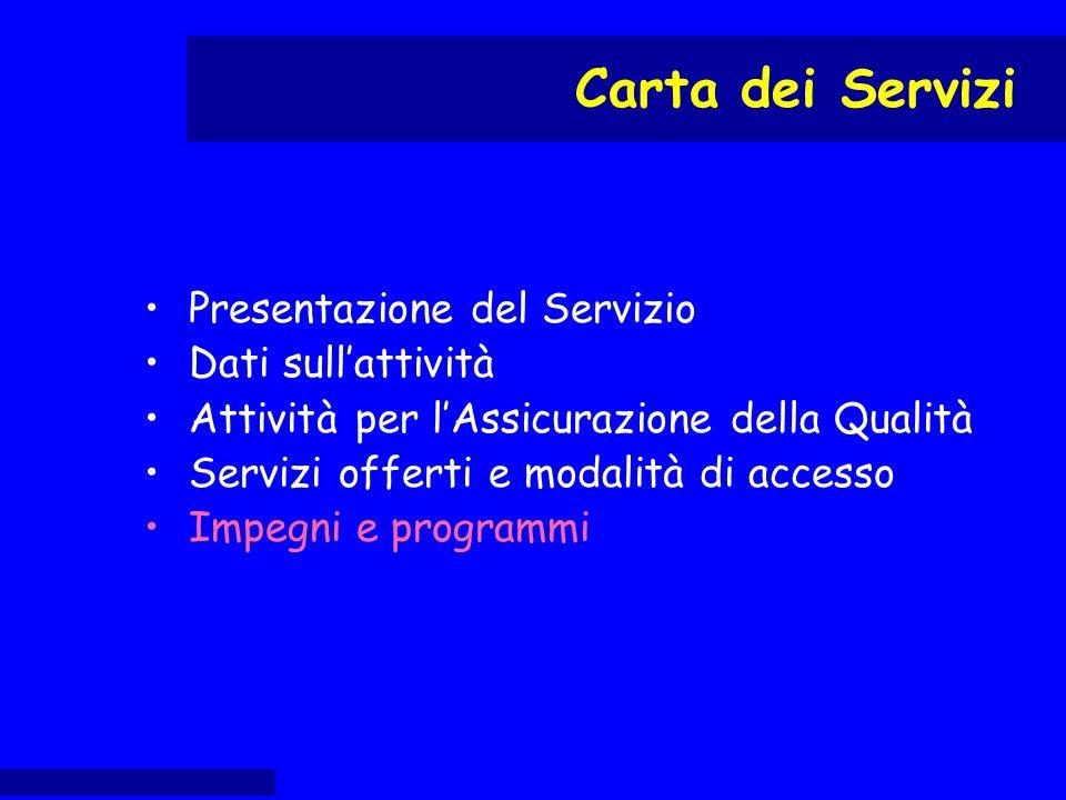 Presentazione del Servizio Dati sull'attività Attività per l'Assicurazione della Qualità Servizi offerti e modalità di accesso Impegni e programmi Car