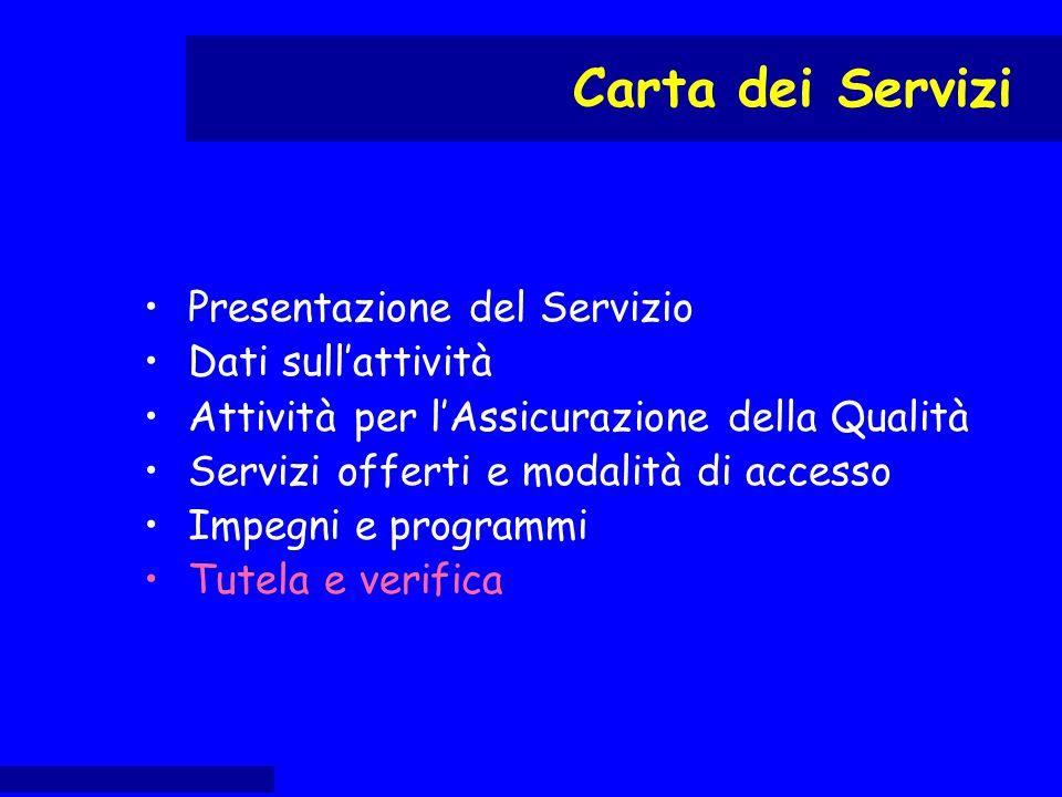 Presentazione del Servizio Dati sull'attività Attività per l'Assicurazione della Qualità Servizi offerti e modalità di accesso Impegni e programmi Tut