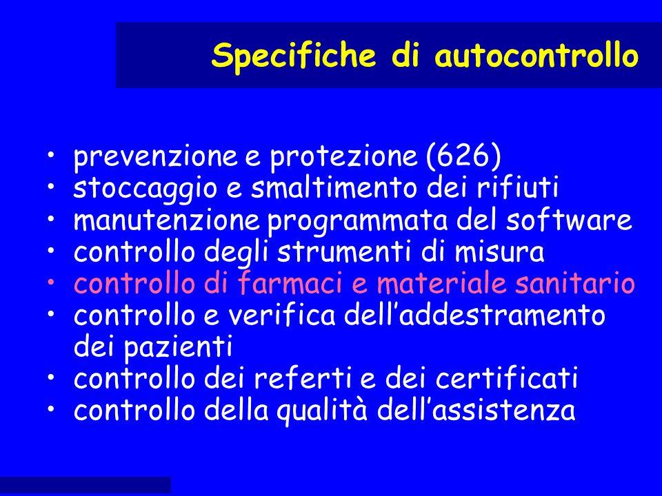 prevenzione e protezione (626) stoccaggio e smaltimento dei rifiuti manutenzione programmata del software controllo degli strumenti di misura controll