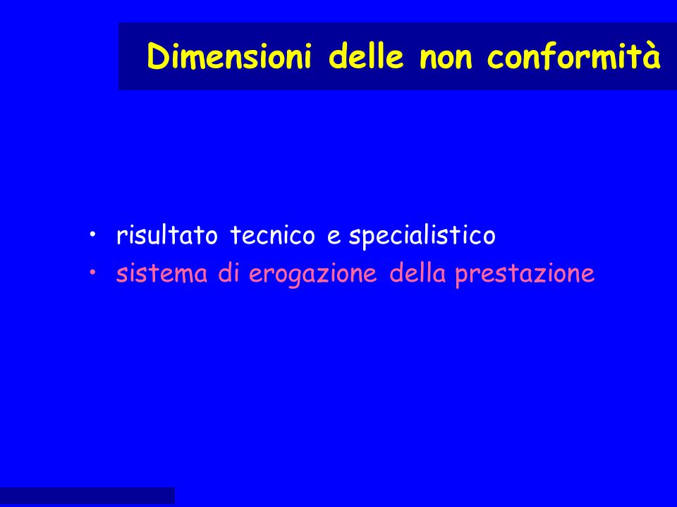risultato tecnico e specialistico sistema di erogazione della prestazione Dimensioni delle non conformità