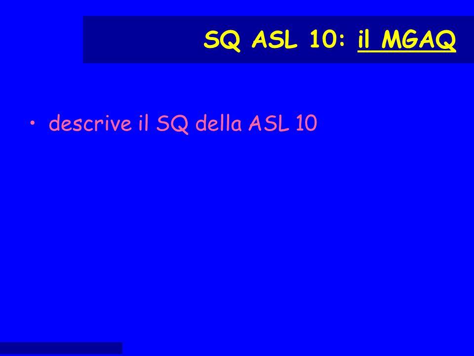 descrive il SQ della ASL 10 SQ ASL 10: il MGAQ