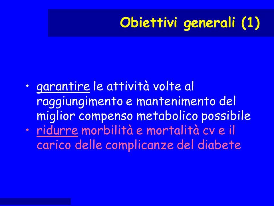 garantire le attività volte al raggiungimento e mantenimento del miglior compenso metabolico possibile ridurre morbilità e mortalità cv e il carico de
