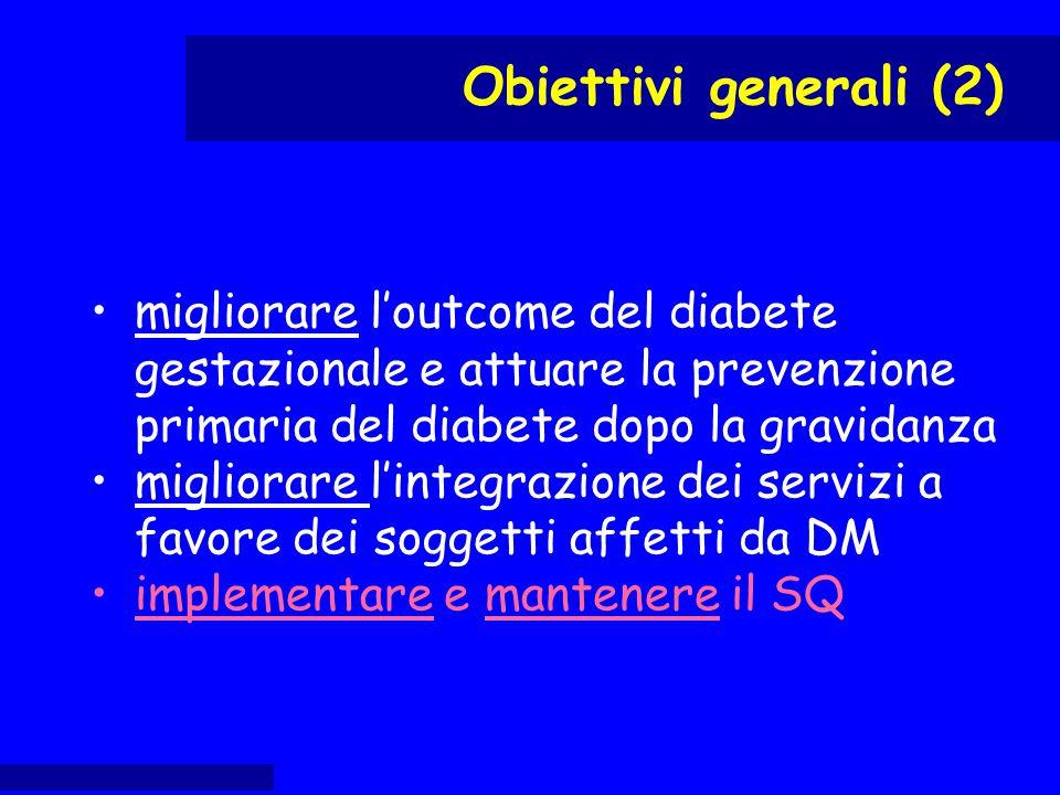 migliorare l'outcome del diabete gestazionale e attuare la prevenzione primaria del diabete dopo la gravidanza migliorare l'integrazione dei servizi a