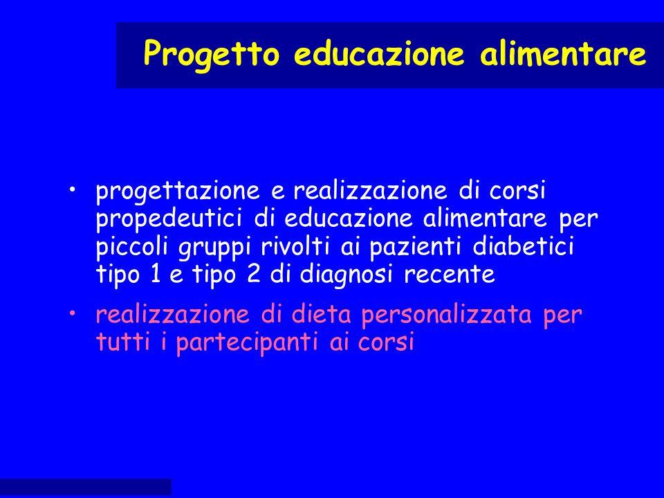 progettazione e realizzazione di corsi propedeutici di educazione alimentare per piccoli gruppi rivolti ai pazienti diabetici tipo 1 e tipo 2 di diagn