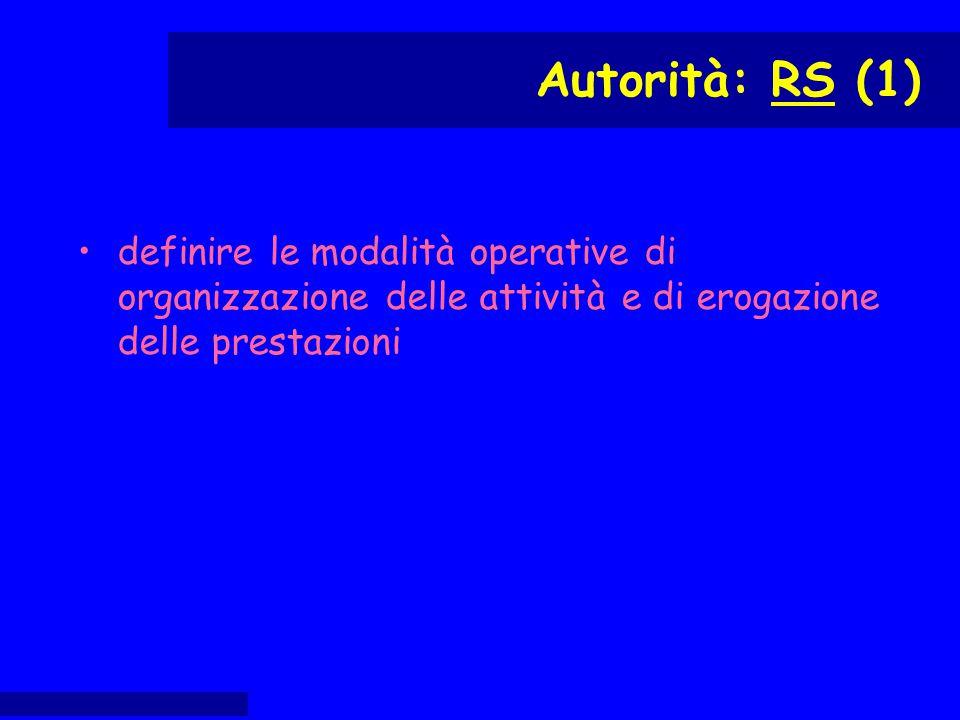 definire le modalità operative di organizzazione delle attività e di erogazione delle prestazioni Autorità: RS (1)