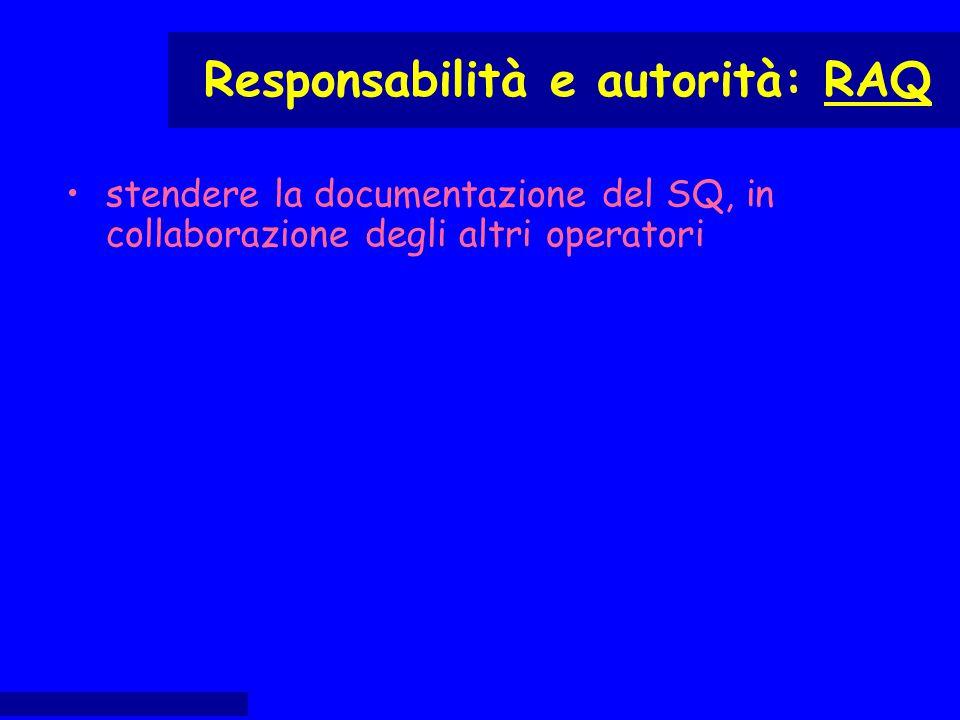 stendere la documentazione del SQ, in collaborazione degli altri operatori Responsabilità e autorità: RAQ