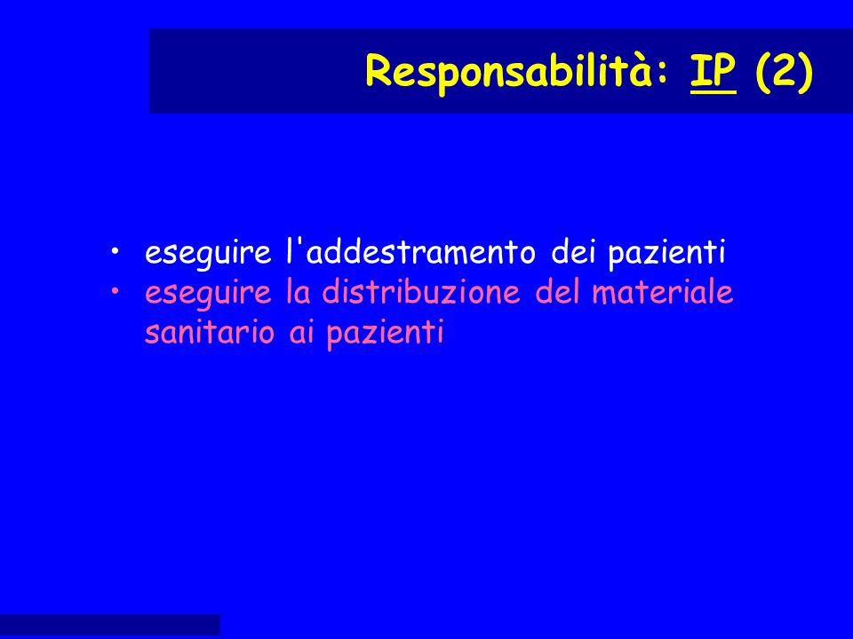 eseguire l'addestramento dei pazienti eseguire la distribuzione del materiale sanitario ai pazienti Responsabilità: IP (2)