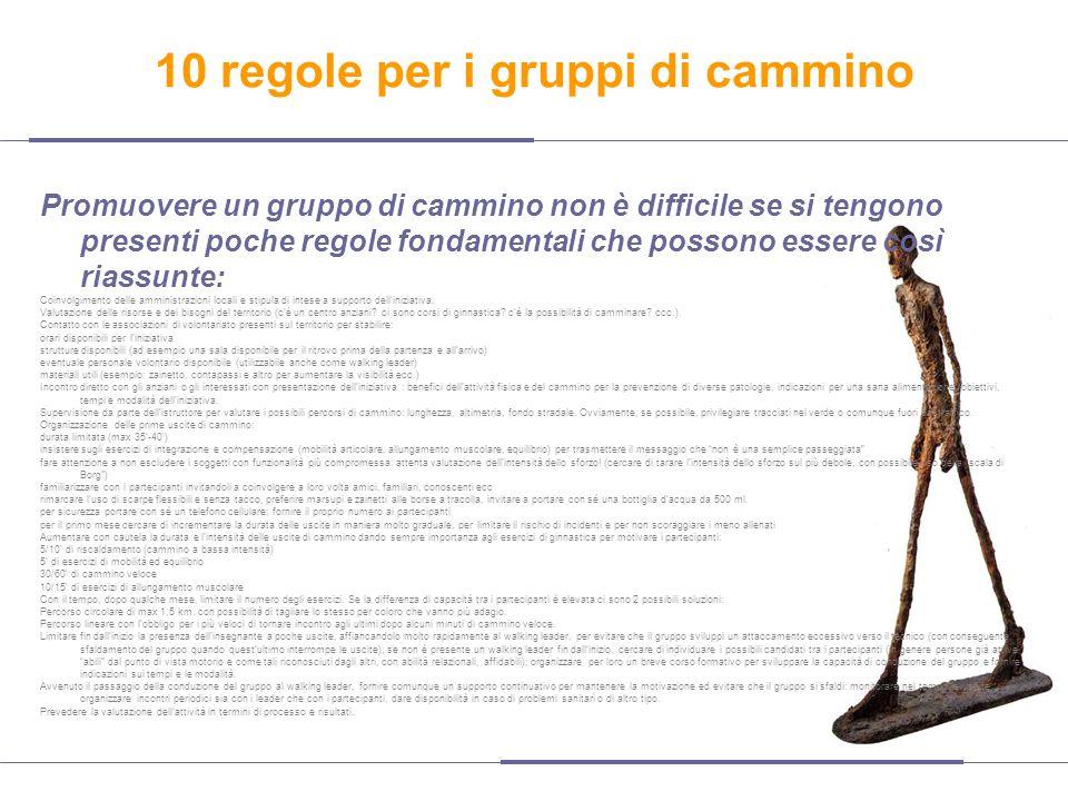 10 regole per i gruppi di cammino Promuovere un gruppo di cammino non è difficile se si tengono presenti poche regole fondamentali che possono essere