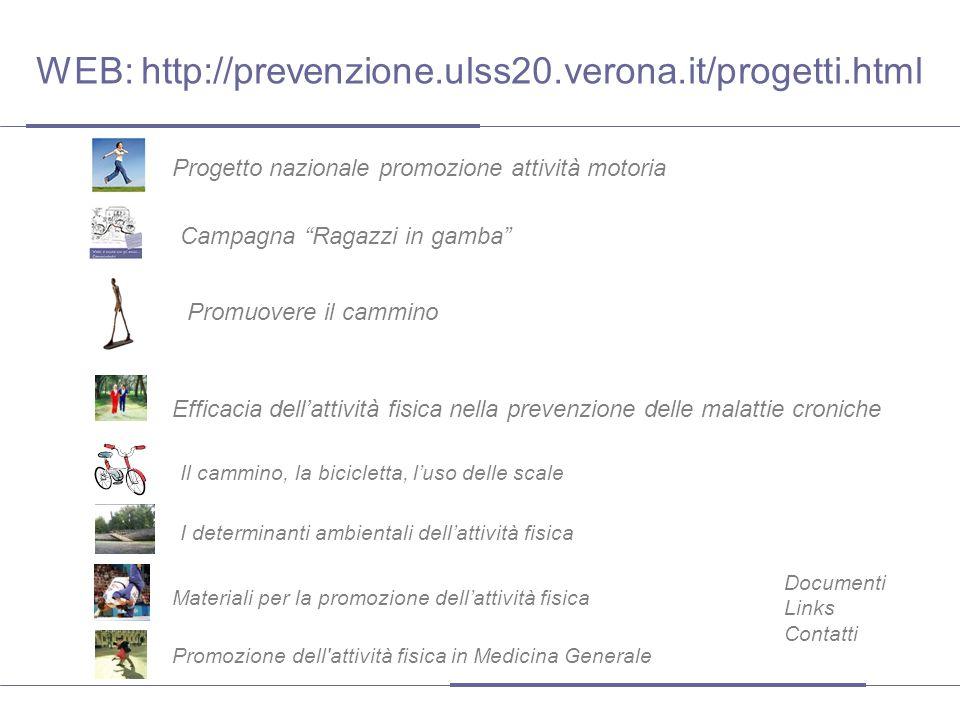 Il cammino, la bicicletta, l'uso delle scale Documenti Links Contatti Efficacia dell'attività fisica nella prevenzione delle malattie croniche Promozi