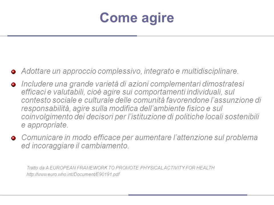 Come agire Adottare un approccio complessivo, integrato e multidisciplinare. Includere una grande varietà di azioni complementari dimostratesi efficac