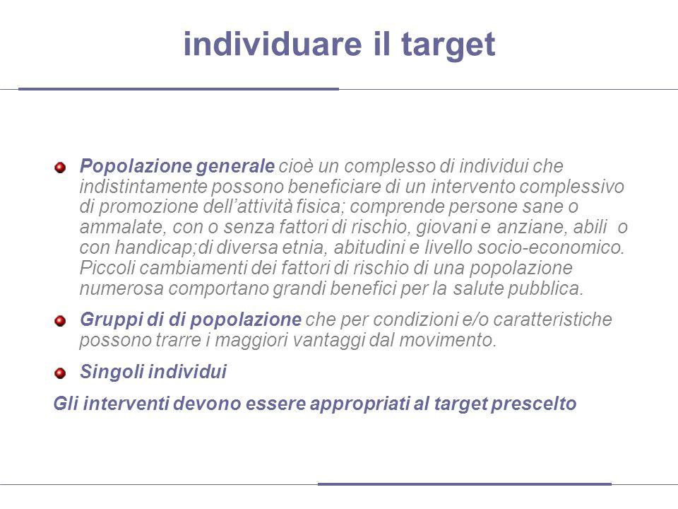 individuare il target Popolazione generale cioè un complesso di individui che indistintamente possono beneficiare di un intervento complessivo di prom
