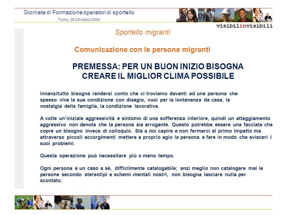 visibilinvisibili Giornate di Formazione operatori di sportello Torino, 28-29 marzo 2006 PREMESSA: PER UN BUON INIZIO BISOGNA CREARE IL MIGLIOR CLIMA