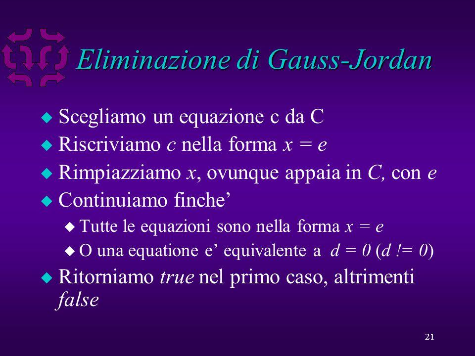21 Eliminazione di Gauss-Jordan u Scegliamo un equazione c da C u Riscriviamo c nella forma x = e u Rimpiazziamo x, ovunque appaia in C, con e u Continuiamo finche' u Tutte le equazioni sono nella forma x = e u O una equatione e' equivalente a d = 0 (d != 0) u Ritorniamo true nel primo caso, altrimenti false