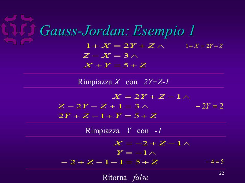 22 Gauss-Jordan: Esempio 1 Rimpiazza X con 2Y+Z-1 Rimpiazza Y con -1 Ritorna false