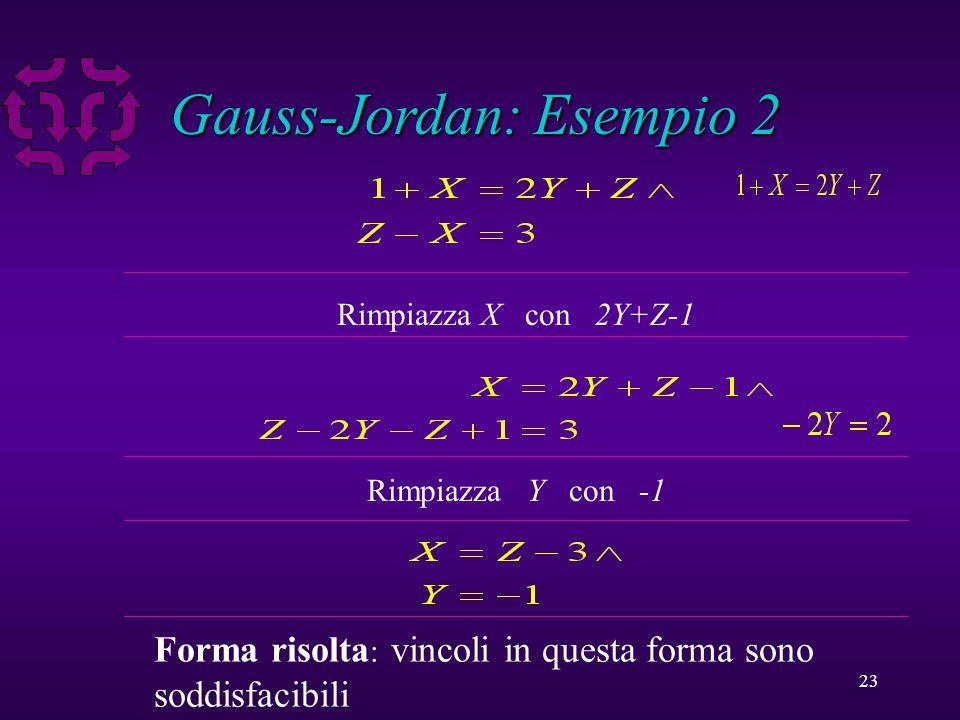 23 Gauss-Jordan: Esempio 2 Rimpiazza X con 2Y+Z-1 Rimpiazza Y con -1 Forma risolta : vincoli in questa forma sono soddisfacibili