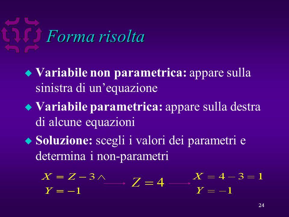 24 Forma risolta u Variabile non parametrica: appare sulla sinistra di un'equazione u Variabile parametrica: appare sulla destra di alcune equazioni u Soluzione: scegli i valori dei parametri e determina i non-parametri