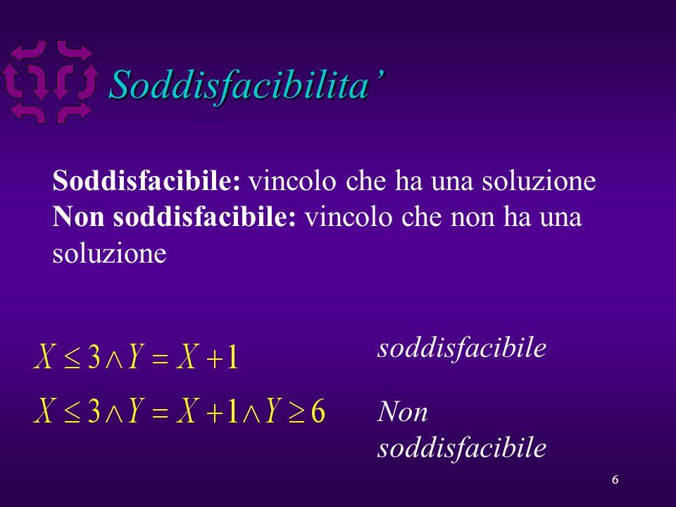 6 Soddisfacibilita' Soddisfacibile: vincolo che ha una soluzione Non soddisfacibile: vincolo che non ha una soluzione soddisfacibile Non soddisfacibile