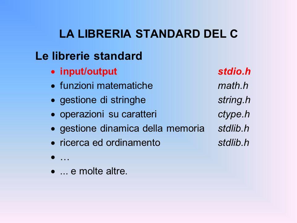 ESEMPIO 3 (variante) #include main() { float x; int ret, i; char name[50]; int *pi = &i; float *px = &x; printf( Inserisci un numero decimale, ); printf( un float ed una stringa con meno ); printf( di 50 caratteri e senza spazi: ); ret = scanf( %d%f%s , pi, px, name); printf( %d valori letti: %d, %f, %s , ret, i, x, name); } Gli indirizzi possono essere passati a scanf() anche attraverso idonei puntatori.