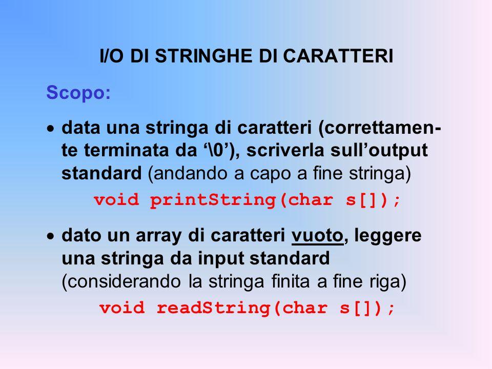 SCRITTURA DI STRINGHE SU stdout Data una stringa di caratteri (terminata da '\0'), scriverla sull'output standard, andando a capo a fine stringa.