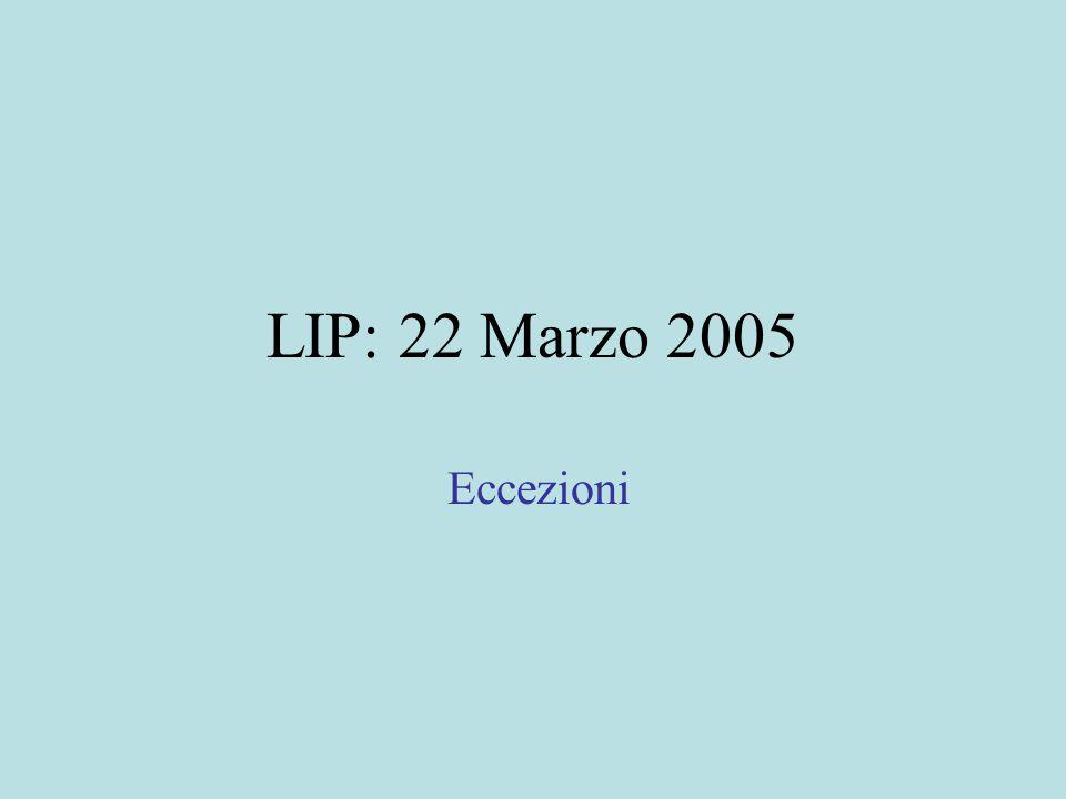 LIP: 22 Marzo 2005 Eccezioni