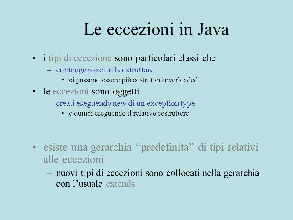 Le eccezioni in Java i tipi di eccezione sono particolari classi che –contengono solo il costruttore ci possono essere più costruttori overloaded le eccezioni sono oggetti –creati eseguendo new di un exception type e quindi eseguendo il relativo costruttore esiste una gerarchia predefinita di tipi relativi alle eccezioni –nuovi tipi di eccezioni sono collocati nella gerarchia con l'usuale extends