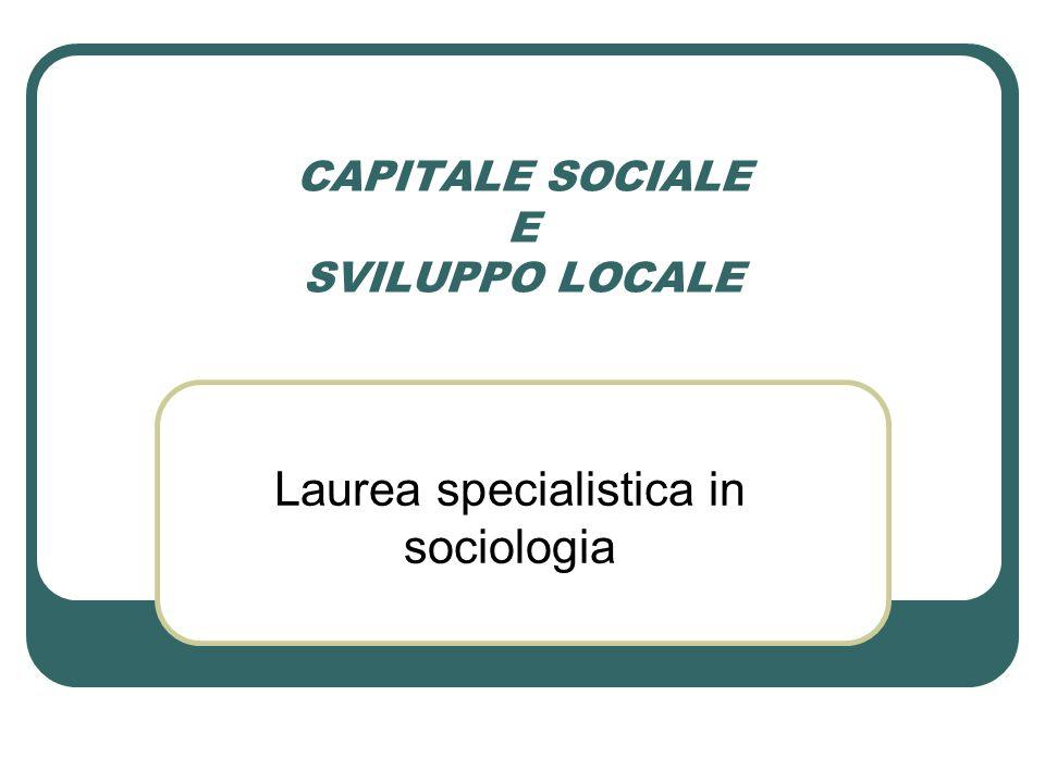 CAPITALE SOCIALE E SVILUPPO LOCALE Laurea specialistica in sociologia