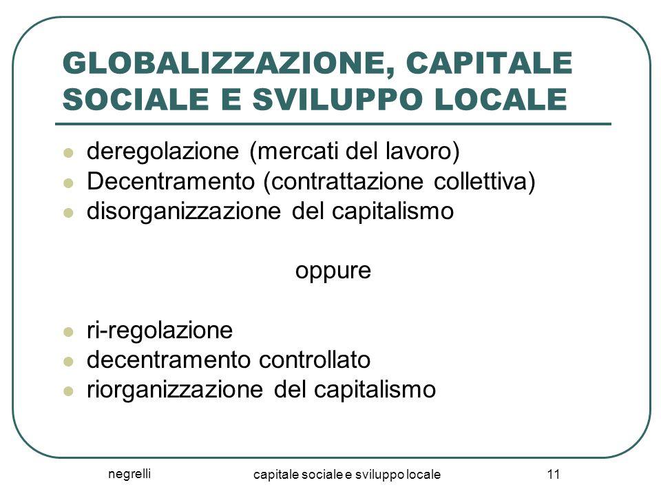 negrelli capitale sociale e sviluppo locale 11 GLOBALIZZAZIONE, CAPITALE SOCIALE E SVILUPPO LOCALE deregolazione (mercati del lavoro) Decentramento (contrattazione collettiva) disorganizzazione del capitalismo oppure ri-regolazione decentramento controllato riorganizzazione del capitalismo