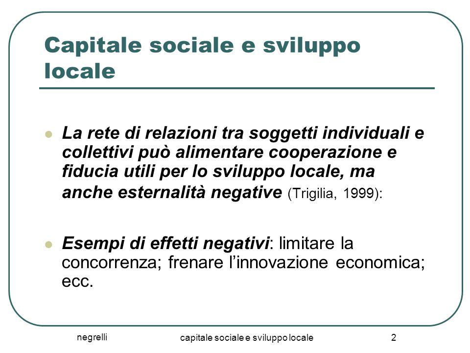 negrelli capitale sociale e sviluppo locale 2 Capitale sociale e sviluppo locale La rete di relazioni tra soggetti individuali e collettivi può alimen