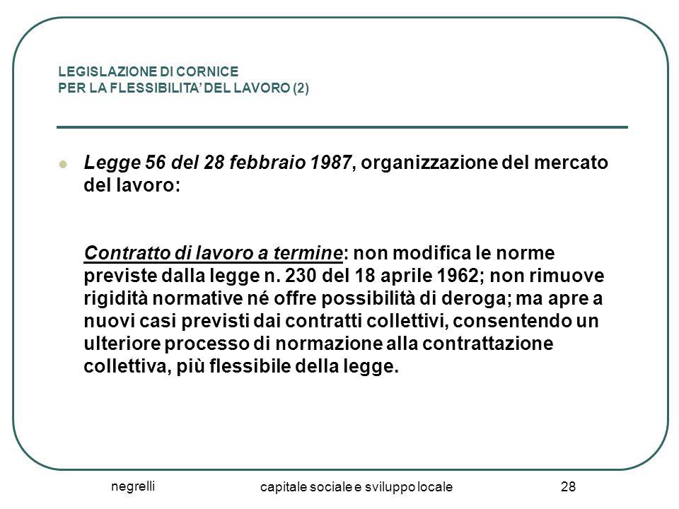 negrelli capitale sociale e sviluppo locale 28 LEGISLAZIONE DI CORNICE PER LA FLESSIBILITA' DEL LAVORO (2) Legge 56 del 28 febbraio 1987, organizzazio