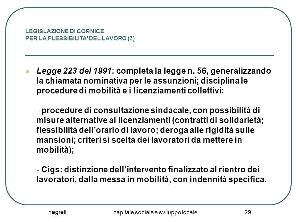 negrelli capitale sociale e sviluppo locale 29 LEGISLAZIONE DI CORNICE PER LA FLESSIBILITA' DEL LAVORO (3) Legge 223 del 1991: completa la legge n. 56