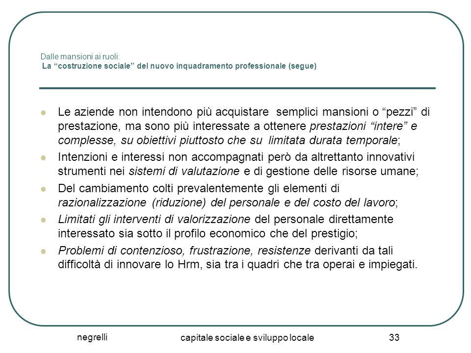 """negrelli capitale sociale e sviluppo locale 33 Dalle mansioni ai ruoli: La """"costruzione sociale"""" del nuovo inquadramento professionale (segue) Le azie"""