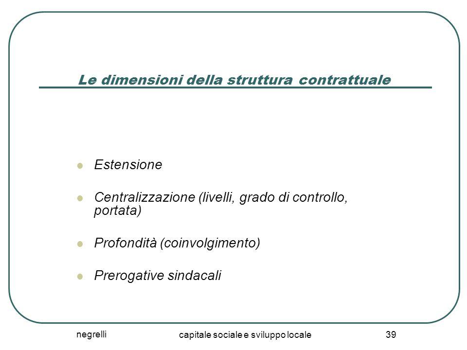 negrelli capitale sociale e sviluppo locale 39 Le dimensioni della struttura contrattuale Estensione Centralizzazione (livelli, grado di controllo, portata) Profondità (coinvolgimento) Prerogative sindacali