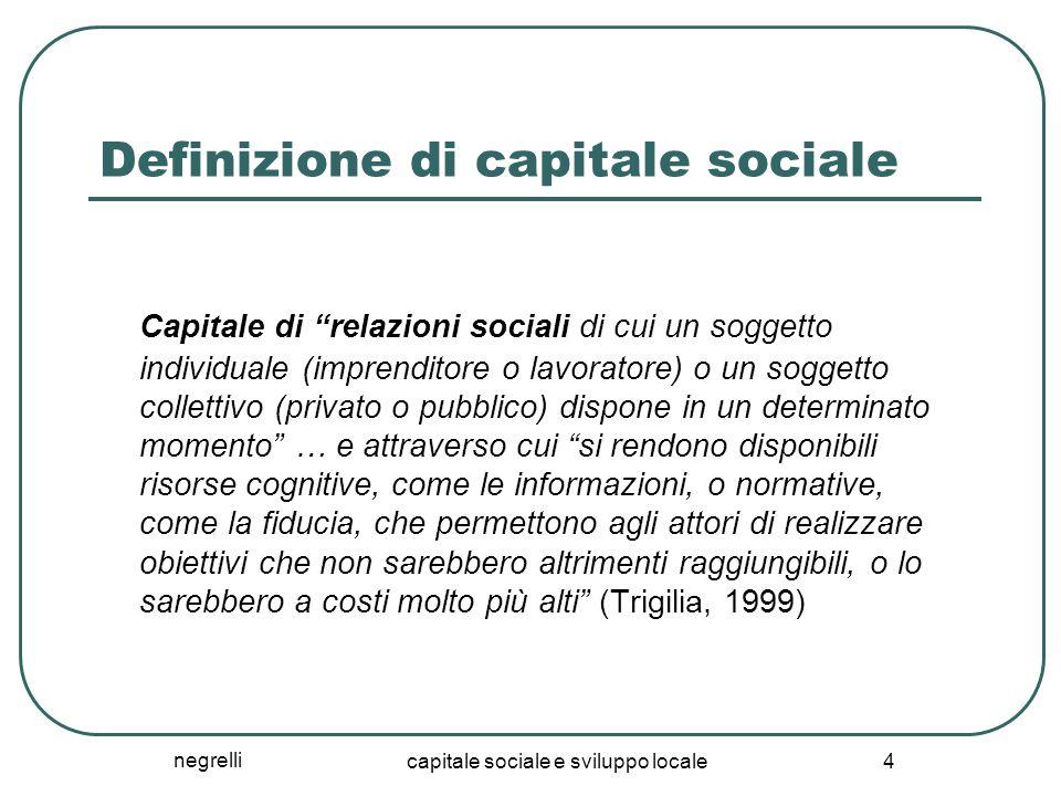 """negrelli capitale sociale e sviluppo locale 4 Definizione di capitale sociale Capitale di """"relazioni sociali di cui un soggetto individuale (imprendit"""