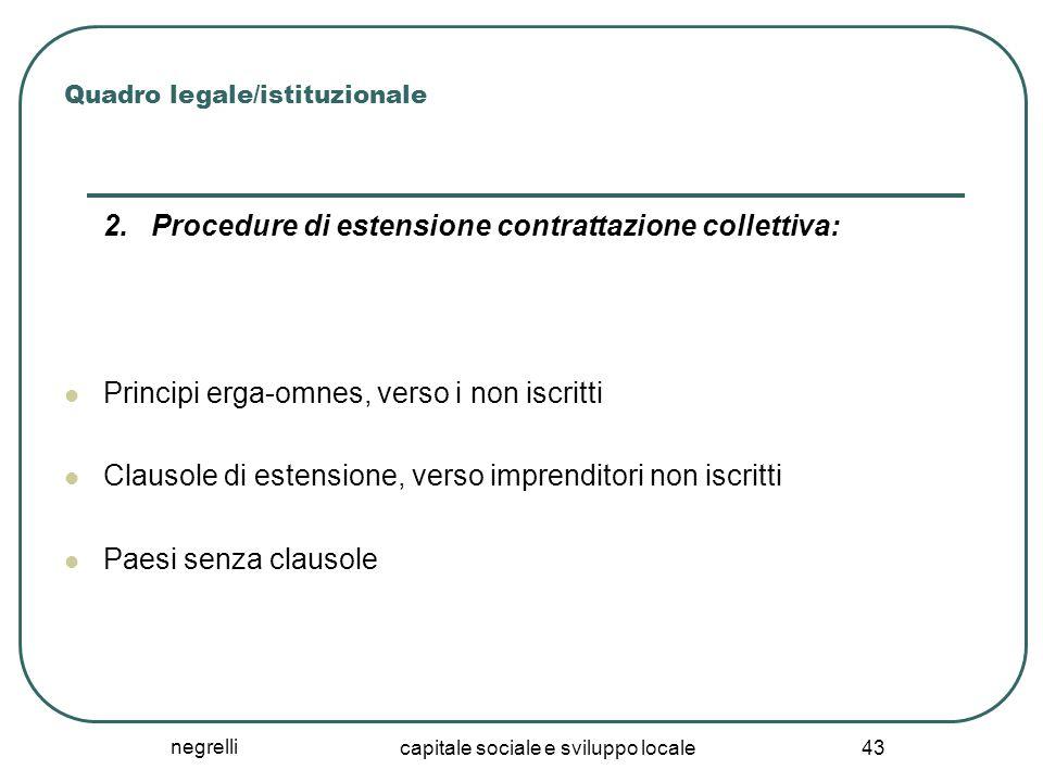 negrelli capitale sociale e sviluppo locale 43 Quadro legale/istituzionale 2. Procedure di estensione contrattazione collettiva: Principi erga-omnes,