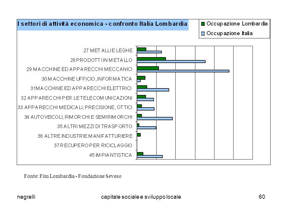negrellicapitale sociale e sviluppo locale60 Fonte: Fim Lombardia - Fondazione Seveso