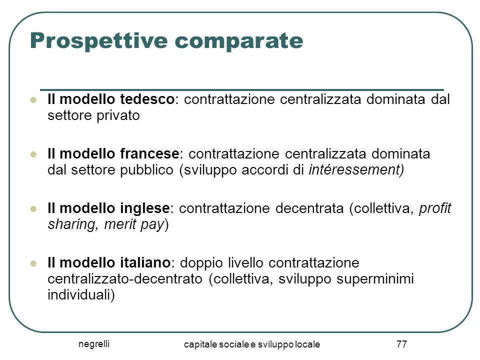 negrelli capitale sociale e sviluppo locale 77 Prospettive comparate Il modello tedesco: contrattazione centralizzata dominata dal settore privato Il