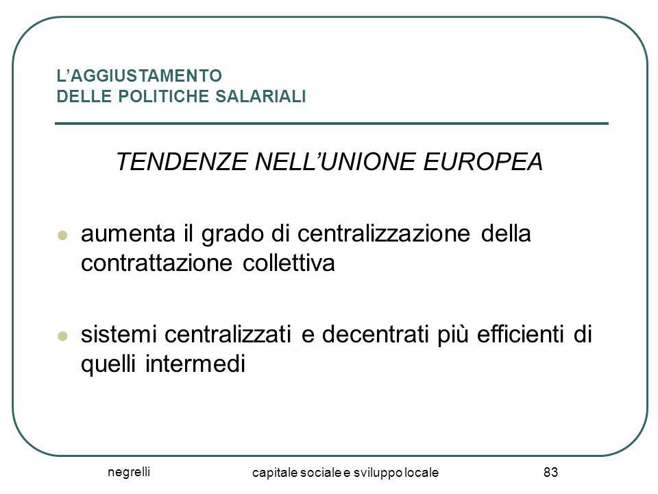 negrelli capitale sociale e sviluppo locale 83 L'AGGIUSTAMENTO DELLE POLITICHE SALARIALI TENDENZE NELL'UNIONE EUROPEA aumenta il grado di centralizzaz