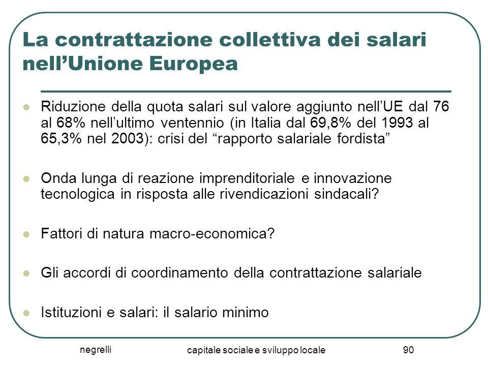 negrelli capitale sociale e sviluppo locale 90 La contrattazione collettiva dei salari nell'Unione Europea Riduzione della quota salari sul valore agg