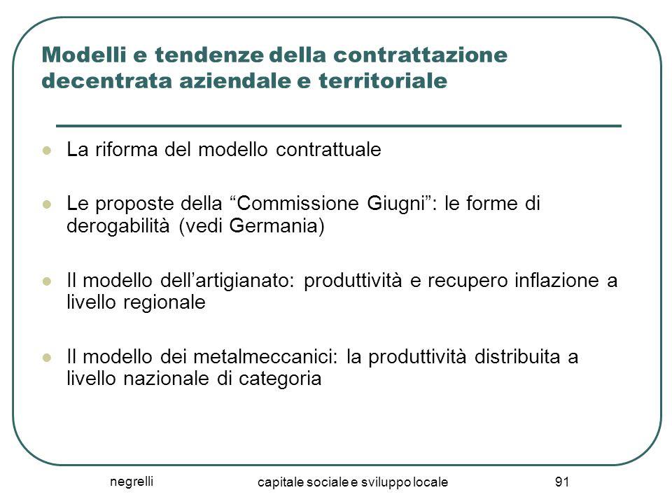 negrelli capitale sociale e sviluppo locale 91 Modelli e tendenze della contrattazione decentrata aziendale e territoriale La riforma del modello cont