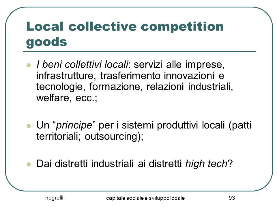 negrelli capitale sociale e sviluppo locale 93 Local collective competition goods I beni collettivi locali: servizi alle imprese, infrastrutture, tras