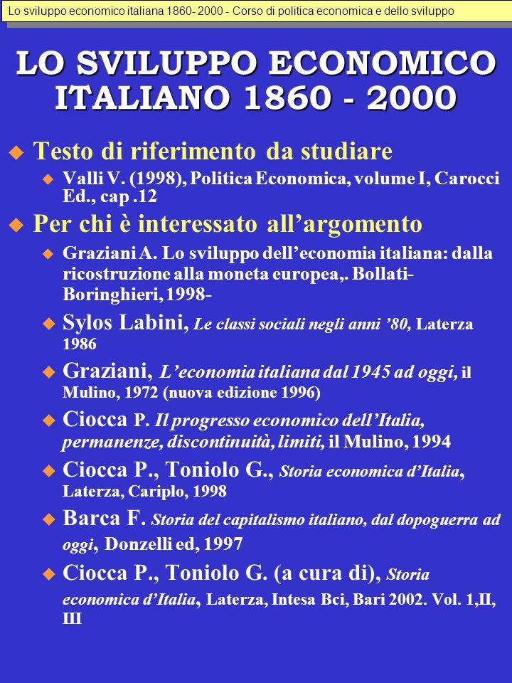 LO SVILUPPO ECONOMICO ITALIANO 1860 - 2000  Testo di riferimento da studiare u Valli V. (1998), Politica Economica, volume I, Carocci Ed., cap.12  P