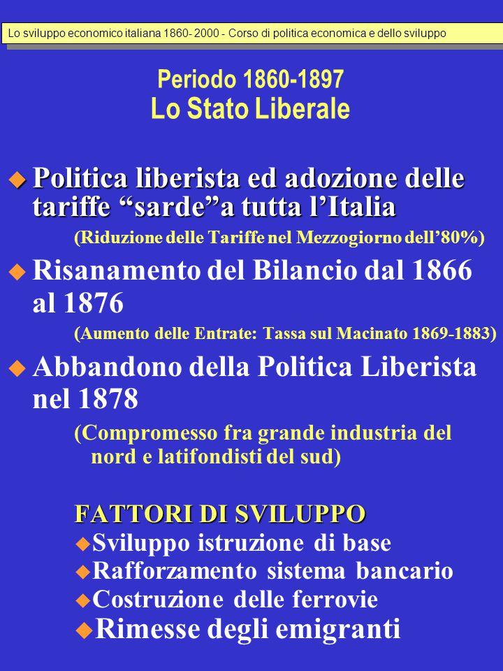 """Periodo 1860-1897 Lo Stato Liberale  Politica liberista ed adozione delle tariffe """"sarde""""a tutta l'Italia (Riduzione delle Tariffe nel Mezzogiorno de"""