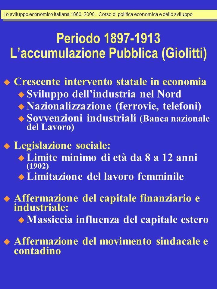 LO SVILUPPO ECONOMICO ITALIANO 1860 - 2000  Testo di riferimento da studiare u Valli V.