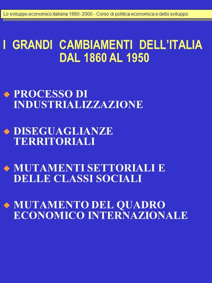 I GRANDI CAMBIAMENTI DELL'ITALIA DAL 1860 AL 1950  PROCESSO DI INDUSTRIALIZZAZIONE  DISEGUAGLIANZE TERRITORIALI  MUTAMENTI SETTORIALI E DELLE CLASS