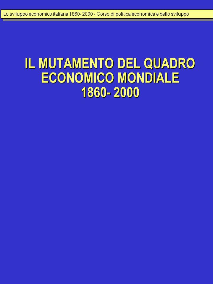 IL MUTAMENTO DEL QUADRO ECONOMICO MONDIALE 1860- 2000 Lo sviluppo economico italiana 1860- 2000 - Corso di politica economica e dello sviluppo