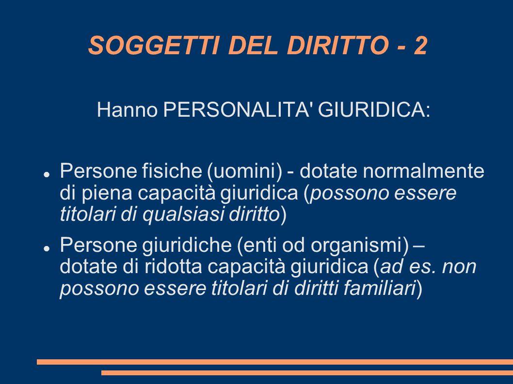 SOGGETTI DEL DIRITTO - 2 Hanno PERSONALITA' GIURIDICA: Persone fisiche (uomini) - dotate normalmente di piena capacità giuridica (possono essere titol